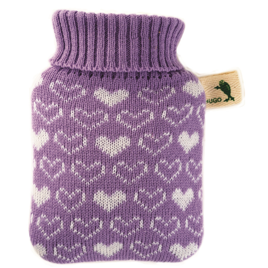HUGO FROSCH Varmvattenflaska Mini 0,2 L stickad täcke lila hjärtan