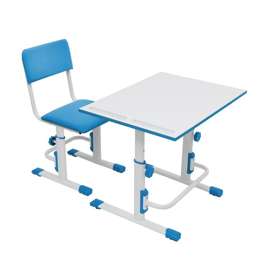 Polini Kids koulusetti - pöytä ja tuoli, valkoinen / sininen
