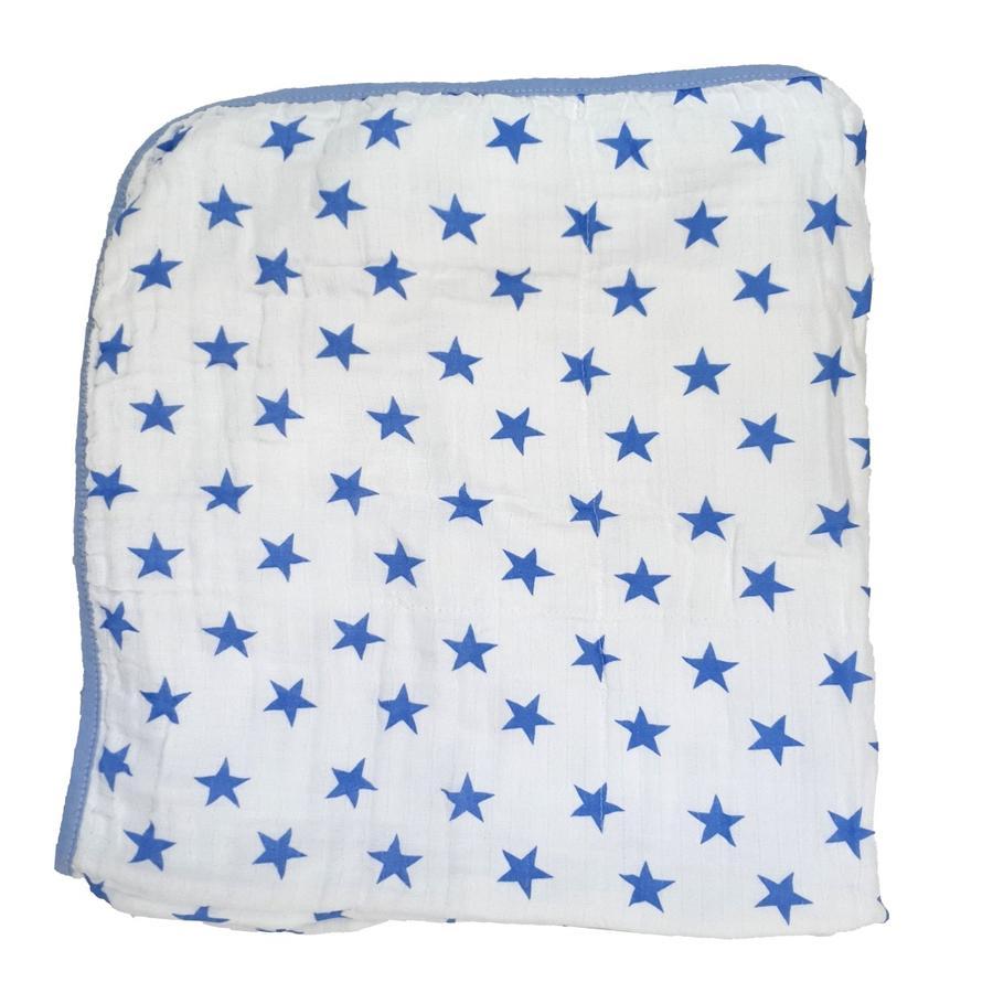 HÜTTE & CO-gaasbadhanddoek met kap blauw 75x75