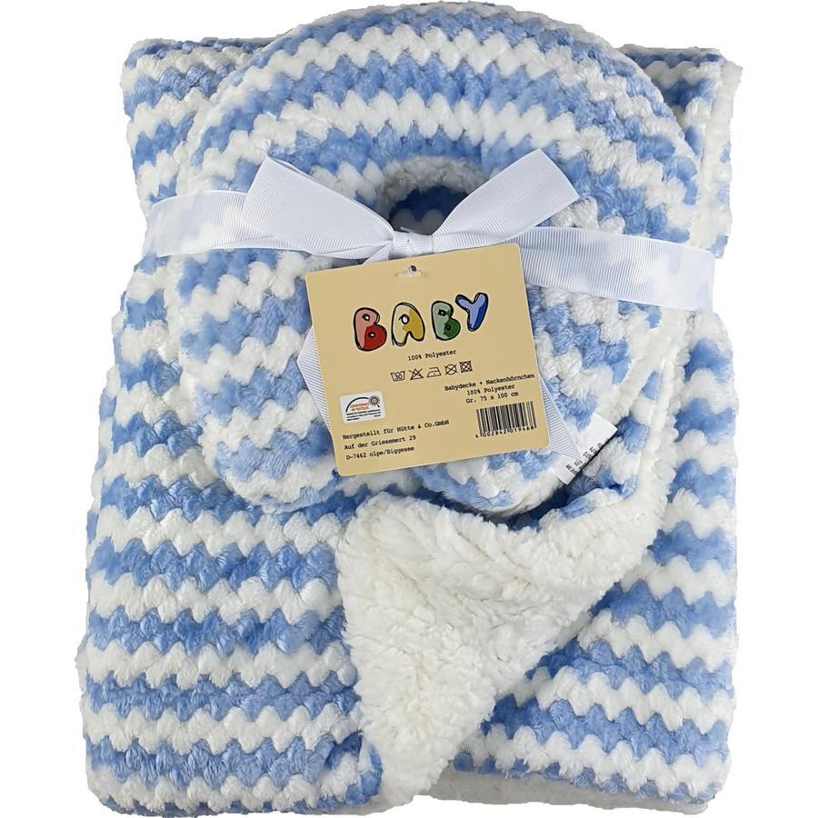 HÜTTE & CO coperta e cuscino per il collo blu 75 cm x 100 cm