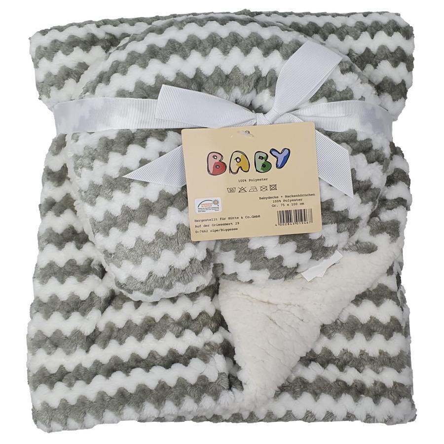 HÜTTE & CO Couverture bébé et coussin tour de cou gris 75x100 cm