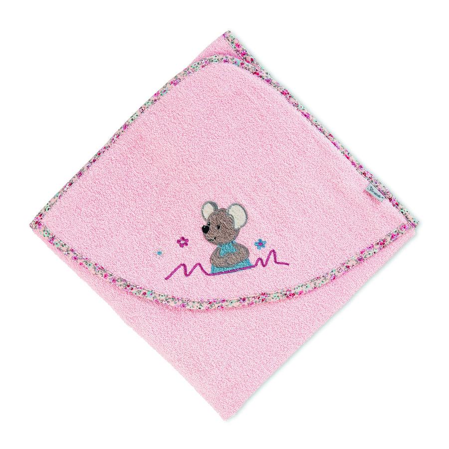 Sterntaler Hupullinen kylpypyyhe Mabel pehmeä vaaleanpunainen 80 x 80 cm