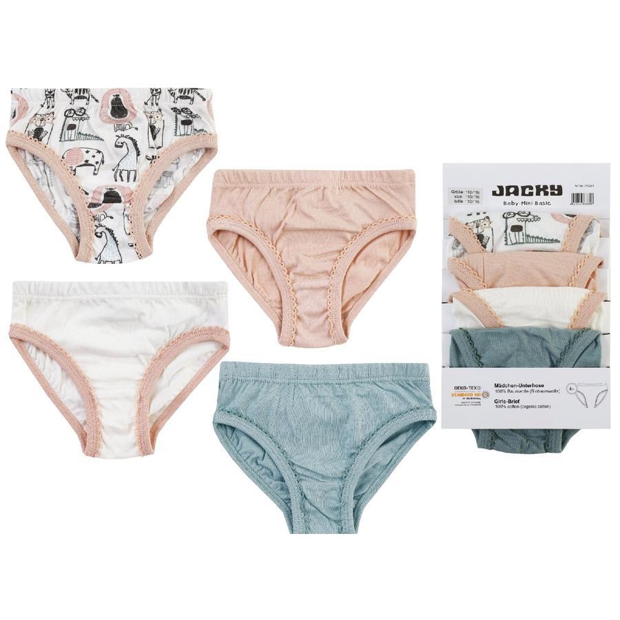 JACKY kalhotky 4ks GIRLS růžová / šedobílá