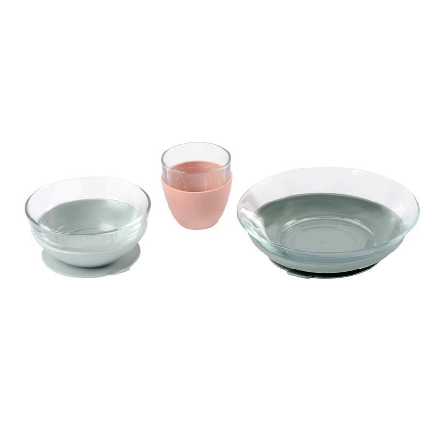 BEABA Coffret vaisselle enfant verre 6 m+ rose/vert