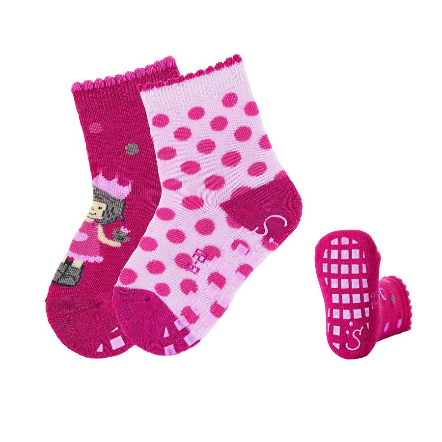 Sterntaler ABS ponožky dvojité balení princezna berry červená melanž