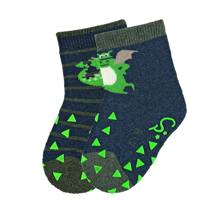 Sterntaler ABS kruipende sokken dubbel pak draak blauw gemêleerd