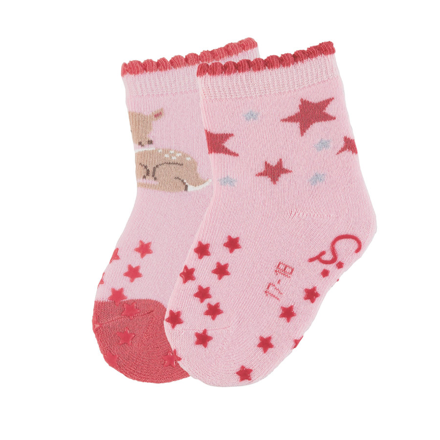 Sterntaler Chaussettes à crampons ABS double pack Bambi rose