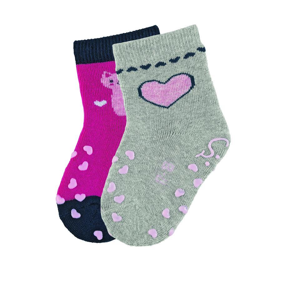 Sterntaler ABS kruipende sokken dubbelpakkat magenta
