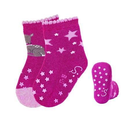 Sterntaler ABS kruipende sokken dubbelpak Bambi magenta melange
