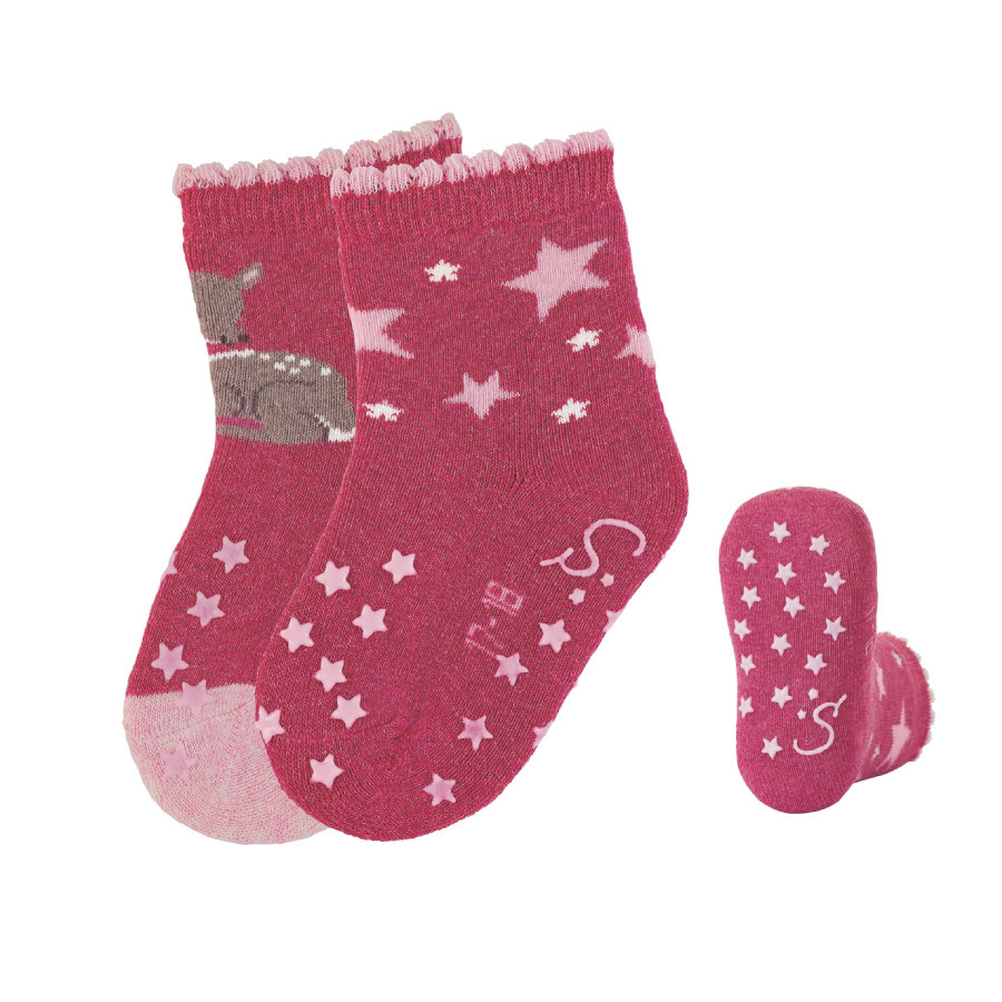 Sterntaler Chaussettes à crampons en ABS double pack Bambi magenta melange