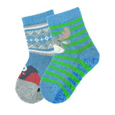 Sterntaler ponožky Air dvojité balení los / bizon středně modrá melanž