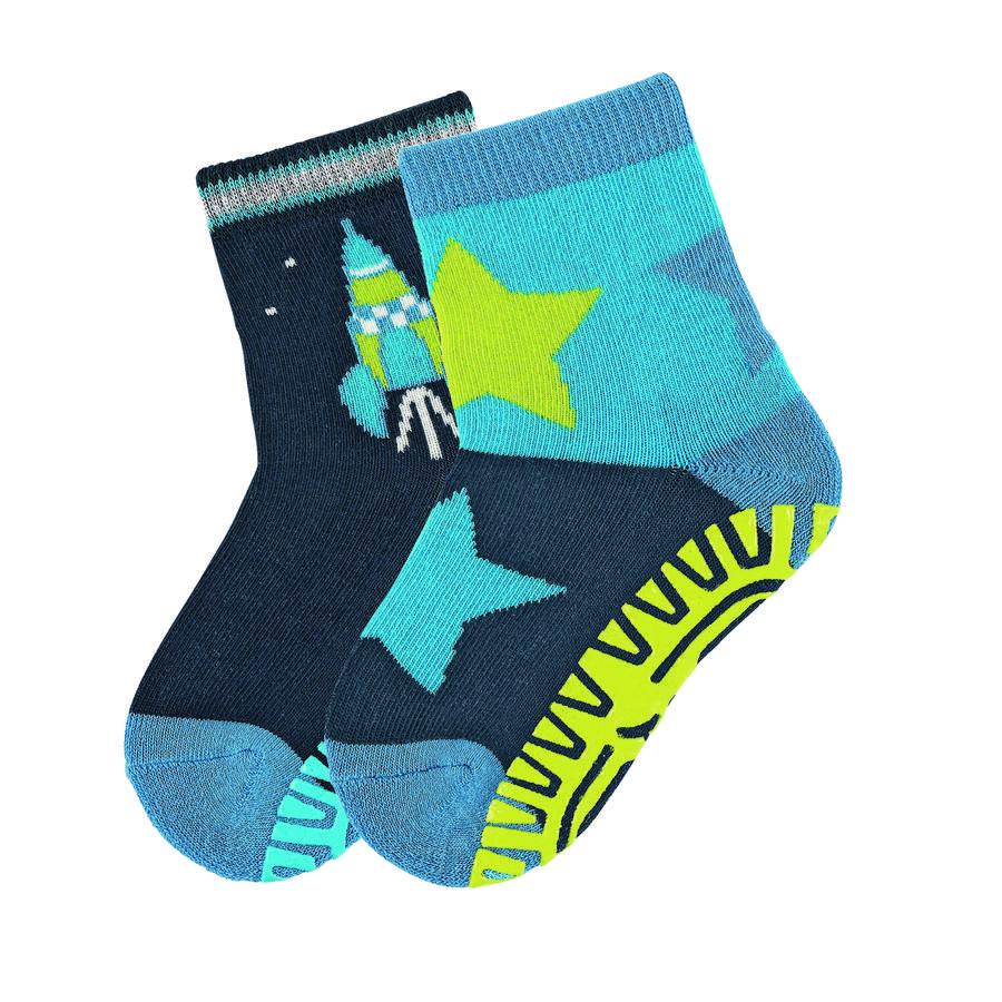 Sterntaler Chaussettes antidérapantes enfant Air fusée/étoiles bleu marine lot de 2
