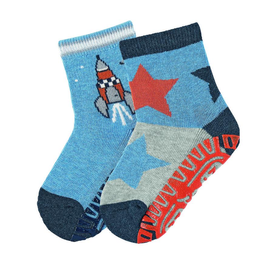 Sterntaler ponožky s podrážkou Air dvojitá raketa / hvězdy středně modrá melanž