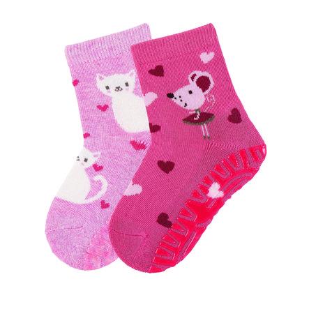 Sterntaler ponožky s podrážkou Runner Air double pack kočka / myš růžová