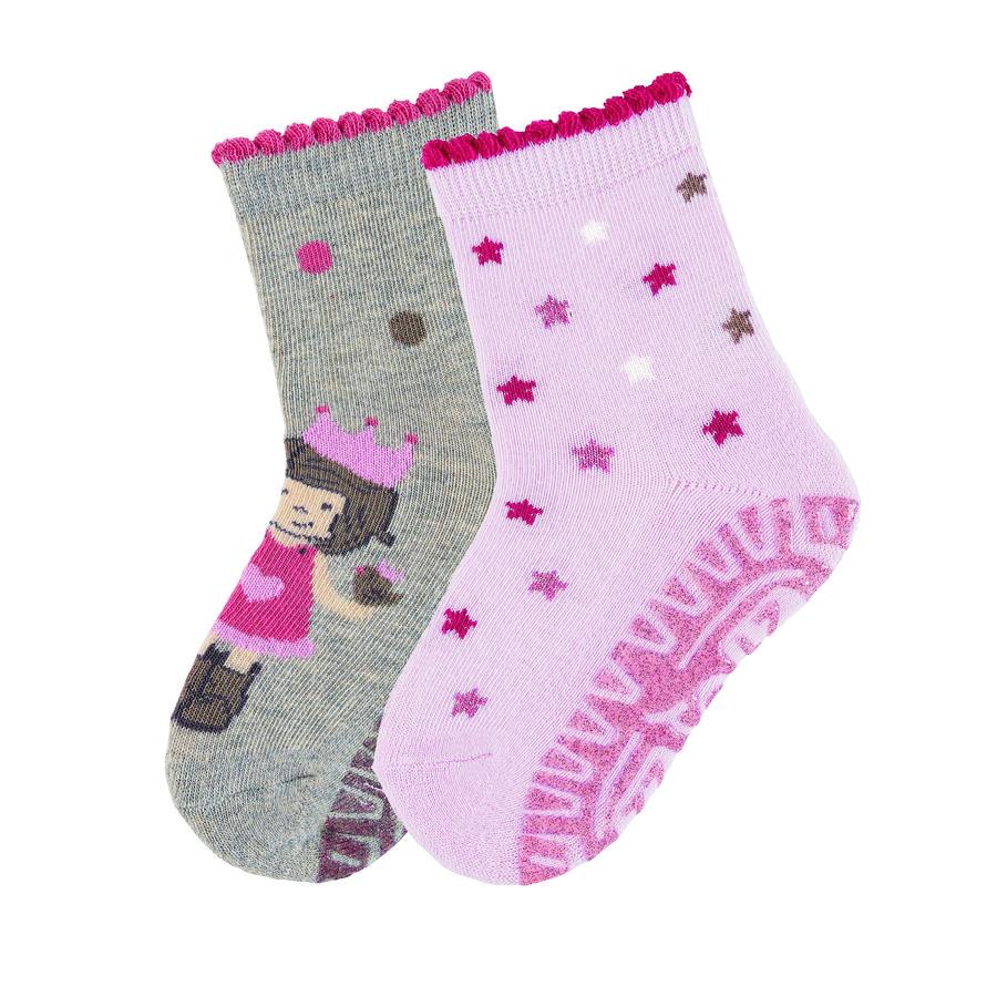 Sterntaler ponožky Glittering Air double pack princezna / hvězdy světle šedá melanž