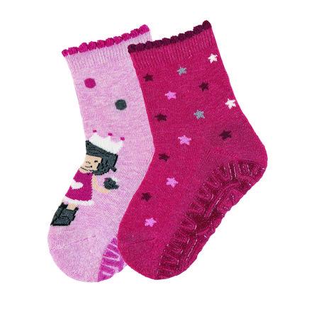 Sterntaler ponožky Glittering Air double pack princezna / hvězdy růžová melanž