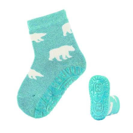 Sterntaler ponožky s podrážkou Soft Polar tyrkysová melanž