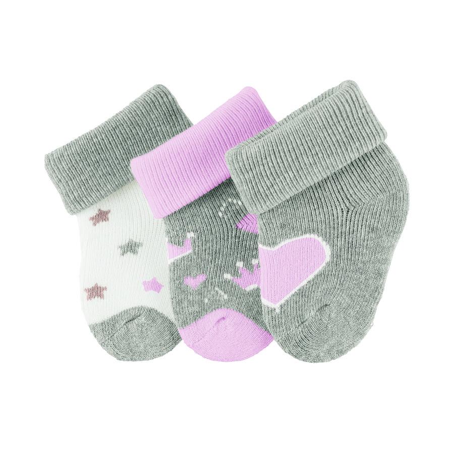 Sterntaler premières chaussettes 3-pack coeur gris clair melange