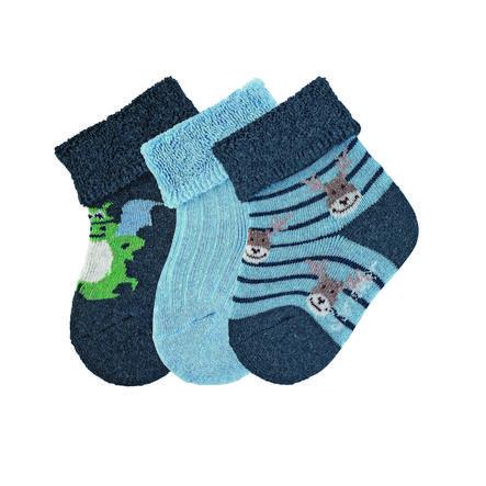 Sterntaler  Baby-Söckchen 3er-Pack Drache blau melange