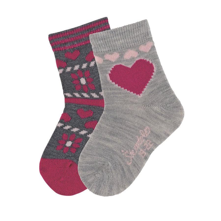 Sterntaler Socks 2-pak antrasitt hjerte