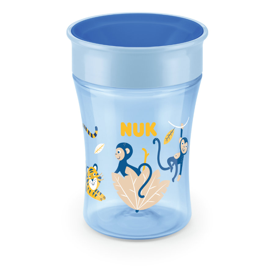 NUK Tasse enfant Evolution Magic Cup 8 m+ tigre/singe bleu 230 ml