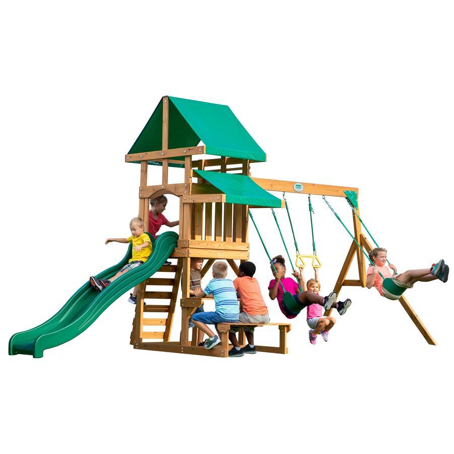 Backyard Discovery Aire de jeu enfant Belmont toboggan bois