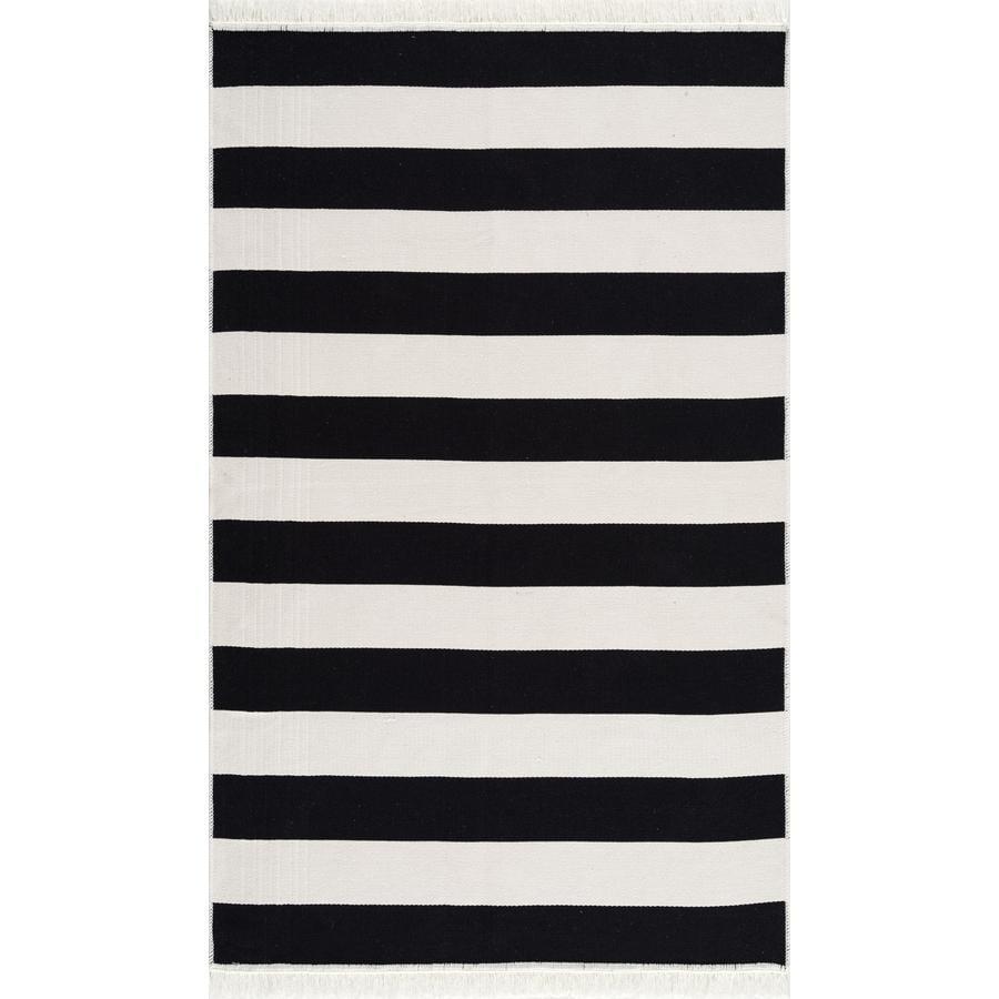 LIVONE bomullsteppet som kan vaskes Happy Rugs Piatto STREET svart / hvit 120x180 cm