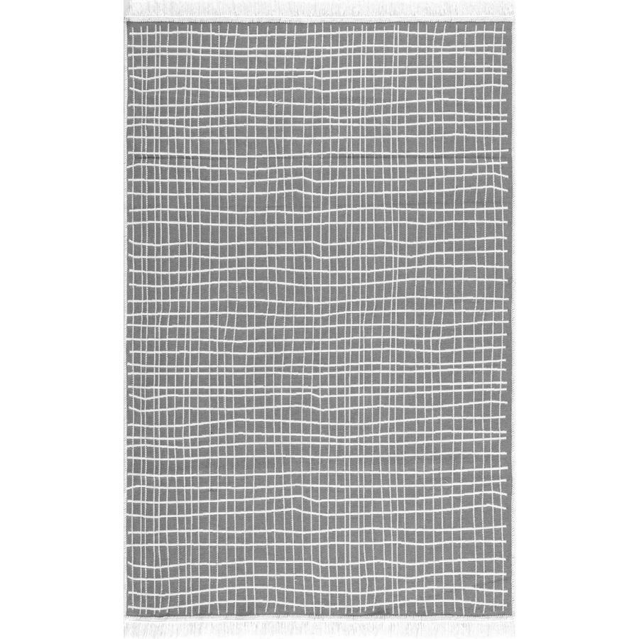 LIVONE Baumwoll Teppich waschbar Happy Rugs Piatto DOLCHE grau/weiß 160x230 cm