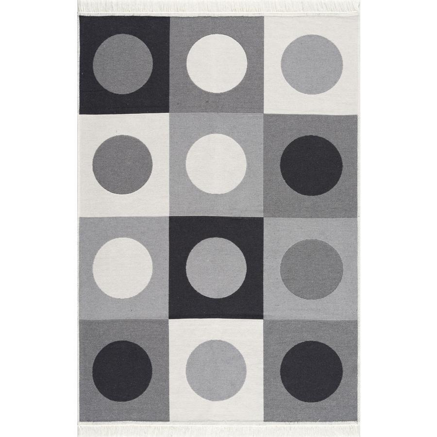 LIVONE teppe vaskbart av bomull Happy Rugs Piatto TRAFFIC grå / svart / hvit 160x230 cm