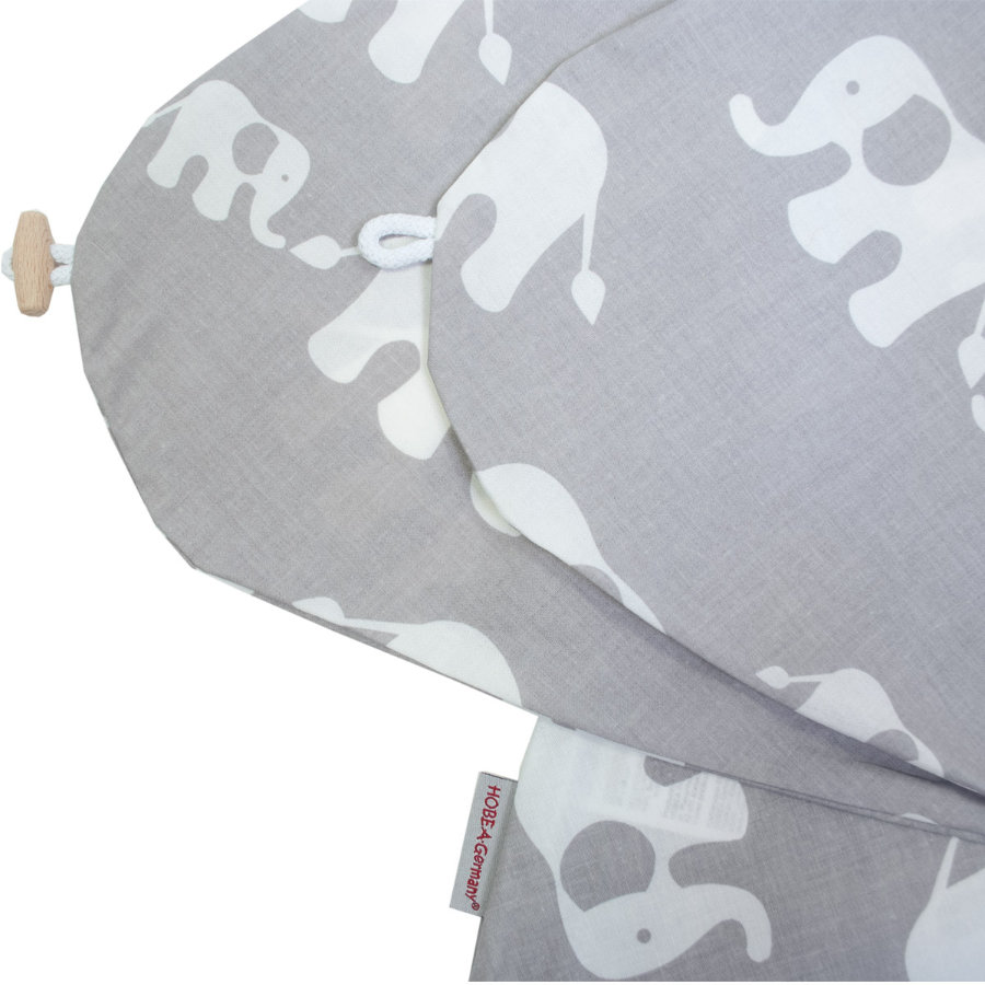 HOBEA-Germany ammepudeovertræk elefantfamilien grå hvid