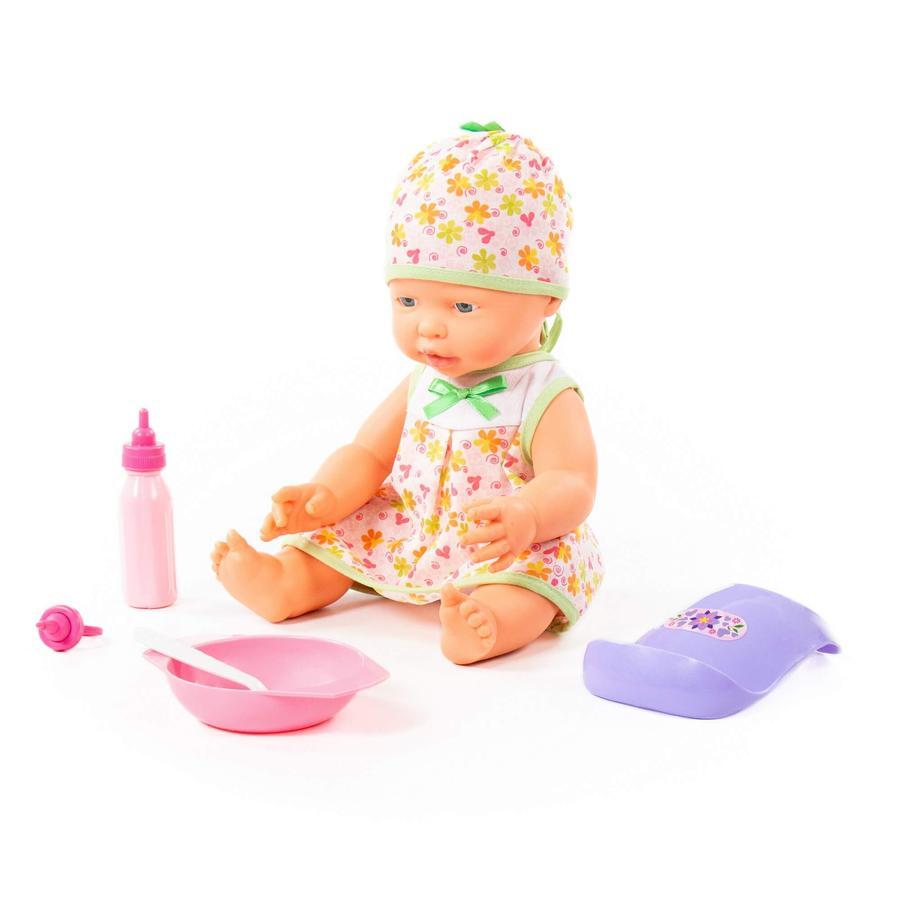 POLESIE® Fröhliche Baby Puppe, 35 cm mit Schnuller und Fütterungset, 4 Teile