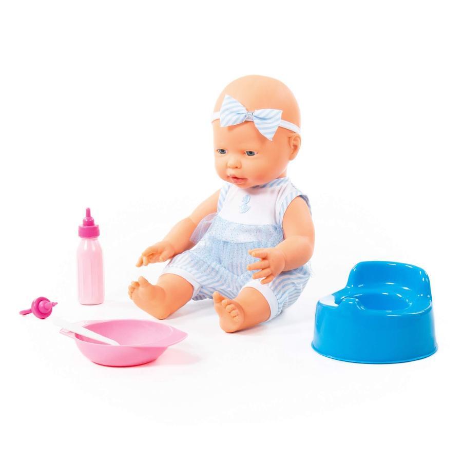 POLESIE® Fröhliche Baby Puppe, 35 cm mit Schnuller und Zubehör, 4 Teile