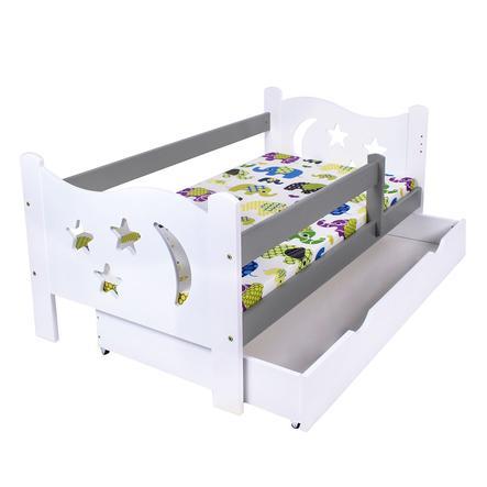 Kagu Lit enfant simple bois blanc/gris 70x140 cm
