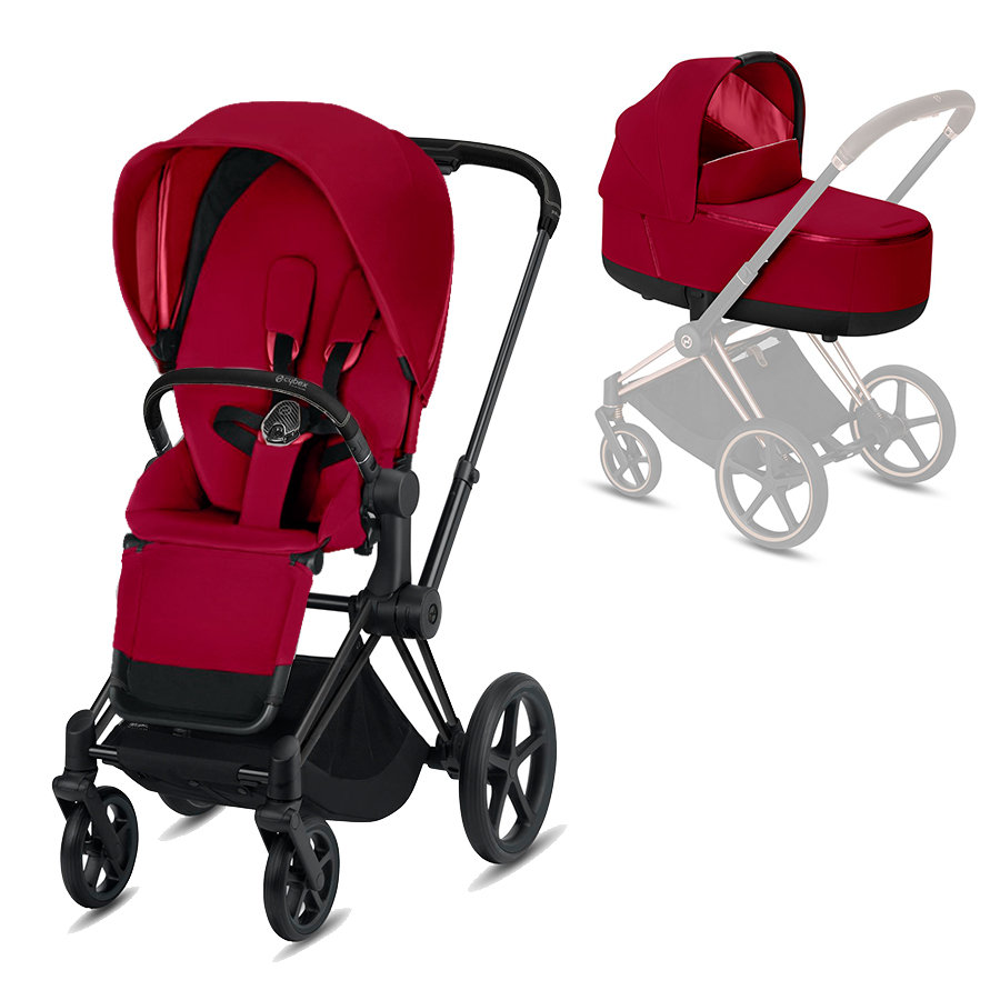 cybex PLATINUM Kombikinderwagen Priam Matt Black/True Red