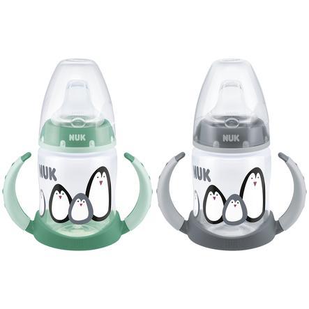 NUK Trinklernflasche Monochrome Edition, First Choice 150 ml mit Trinktülle Grau und Grün