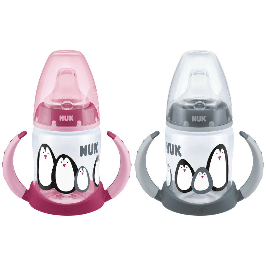 NUK Trinklernflasche First Choice Monochrome Edition 150 ml Grau/ Pink