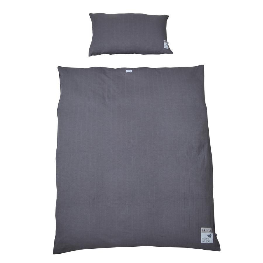 LITTLE terninger af sengelinned ny antracit 100 x 135 cm