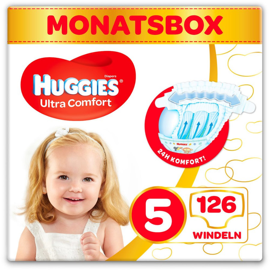 Huggies Pañales Ultra Comfort Talla de bebé 5 Meses caja 126 piezas