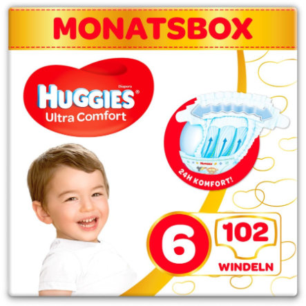 Huggies Couches Ultra Comfort Baby T.6 102 pièces pack mensuel