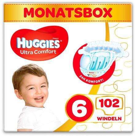 Huggies-vaipat Ultra Comfort Vauvan koko 6 kk: n laatikko 102 kpl
