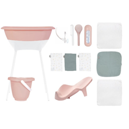 Luma ® Babyservett badset med muslindukar i molnrosa