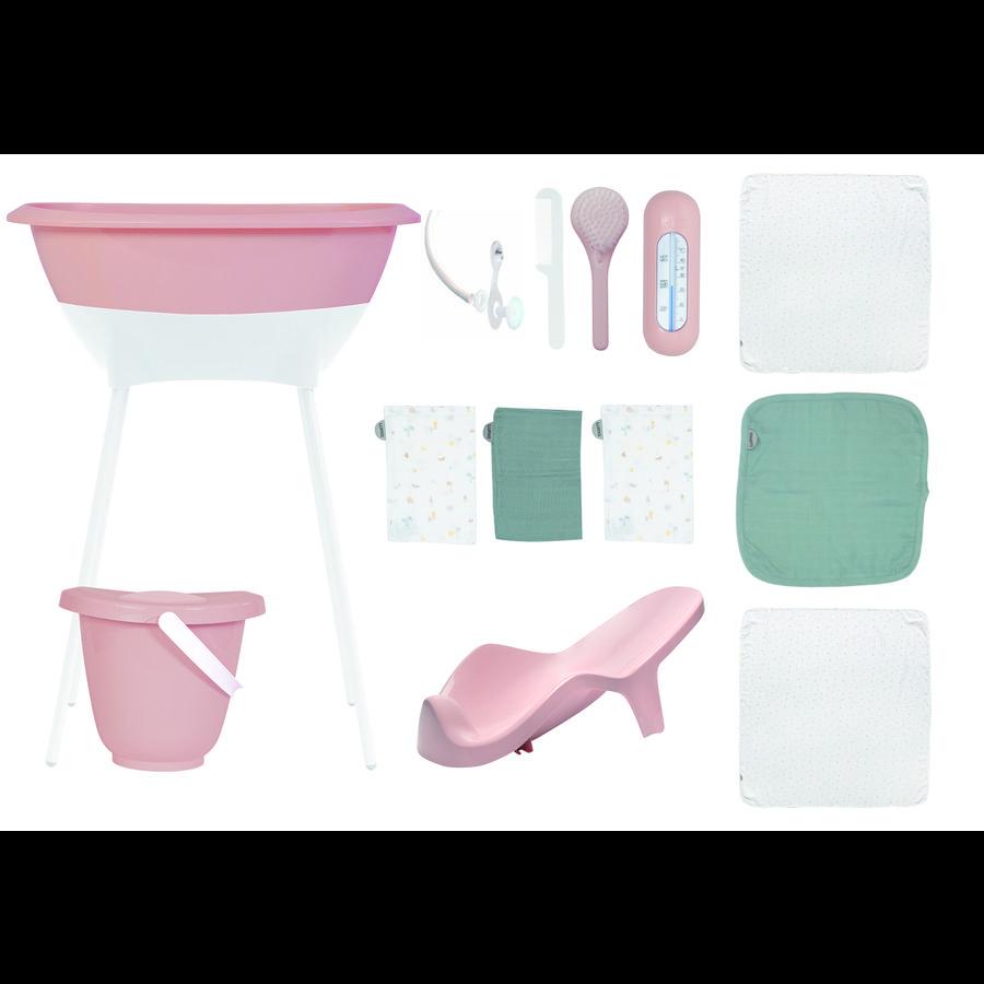 Luma ® Baby care kylpysetti, jossa on musliiniliinoja, vaaleanpunainen