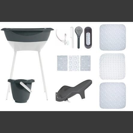 Luma® Babycare Set de bain bébé langes mousseline dark grey