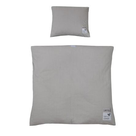 LITTLE kolébkové ložní prádlo kostky midi šedé 80 x 80 cm