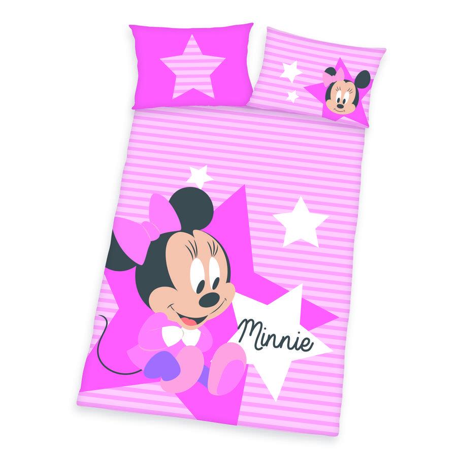 HERDING Parure de lit enfant Minnie Disney rose vif 100x135 cm
