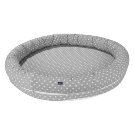 Alvi ® Ochraniacz do łóżeczka XL Stars srebrny z kieszenią