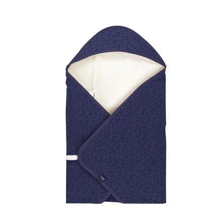 Alvi® Reisedecke Hearts Navy 80 x 80 cm
