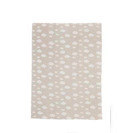 LITTLE  Manta de franela de vellón de nubes de color gris topo 75 cm x 100 cm