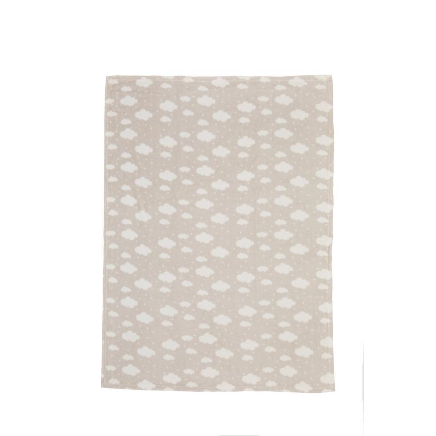 LITTLE Flannel fleece tæppe sky taupe 75 cm x 100 cm