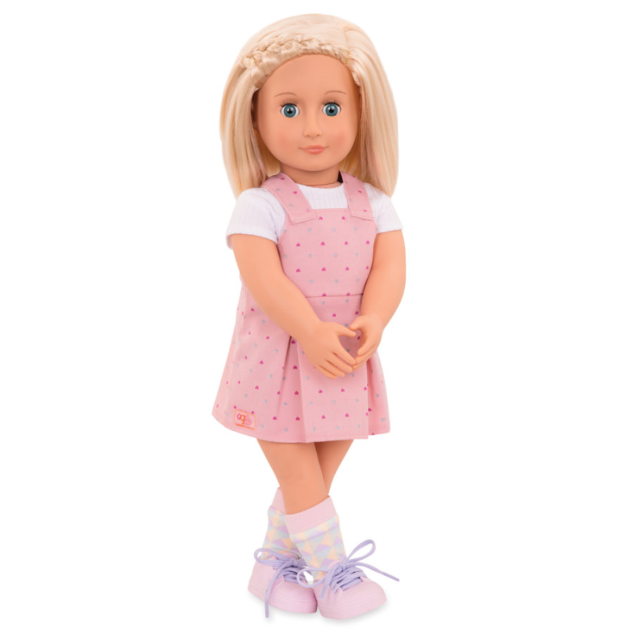 Our Generation - Puppe Naty mit rosa Overall-Kleid 46 cm